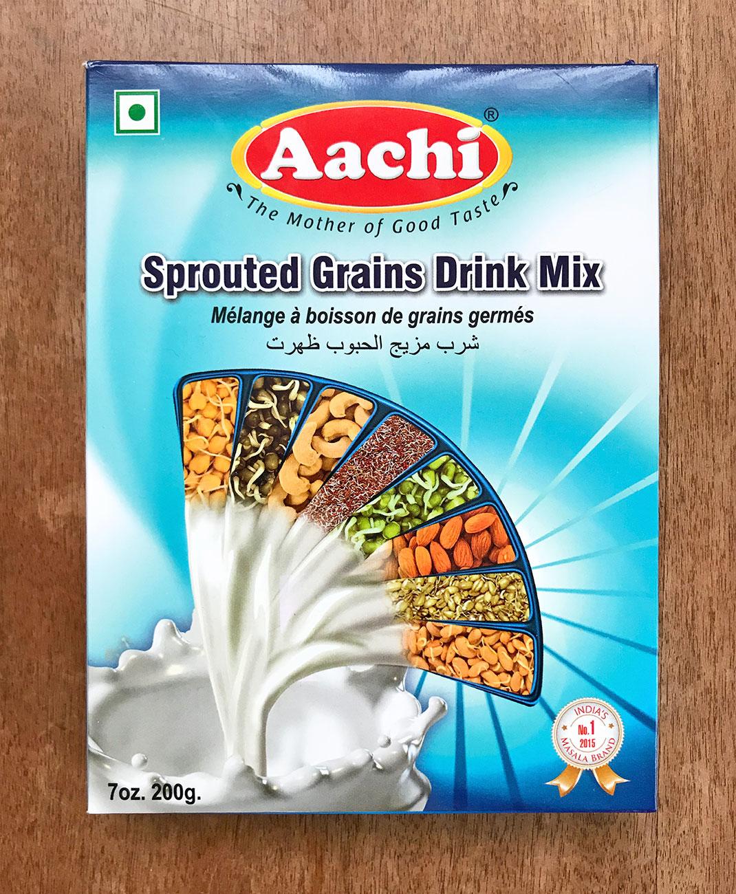 インドの発芽穀物ミルクのパッケージ