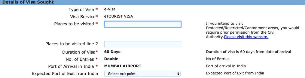 インド 電子ツーリストビザ DETAILS OF VISA SOUGHT