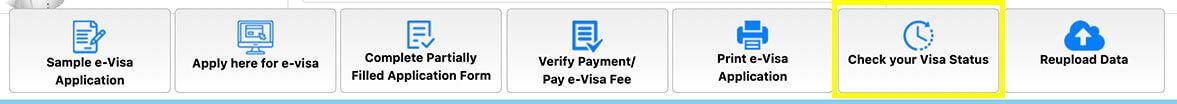 2019年インドビザ申請画面 Check visa status