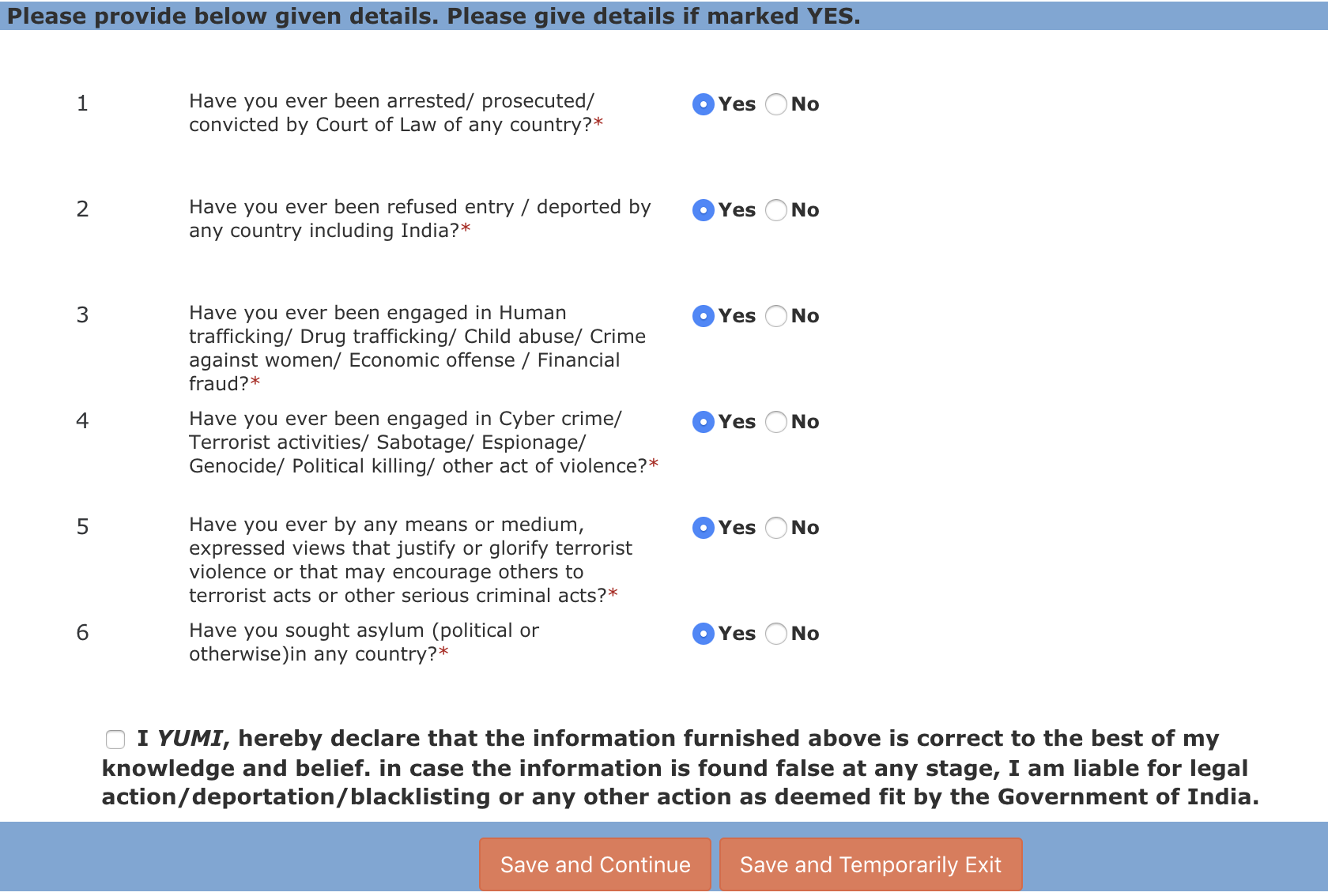 インド電子ツーリストビザ 新しくできた質問