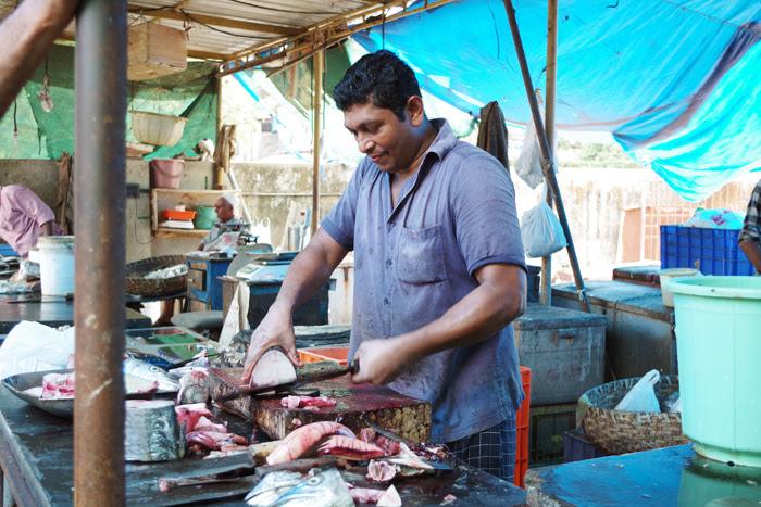 ケララ州カヌールの町中フィッシュマーケット、魚売りのおじさん