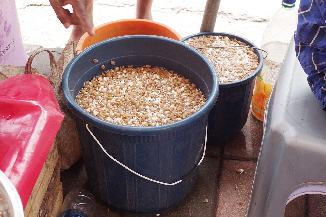 ムンバイ路上のバケツに入った発芽もの
