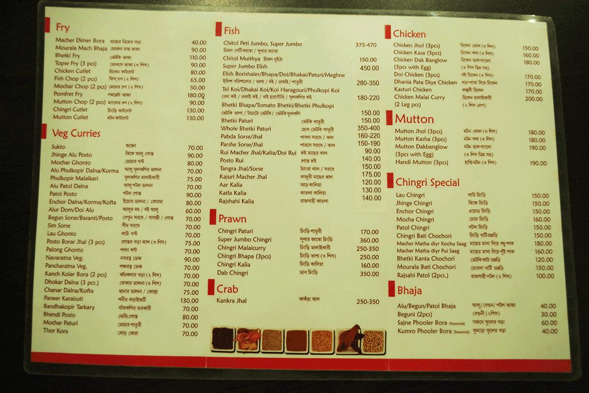 ベンガル料理店Sholoanaのメニュー裏