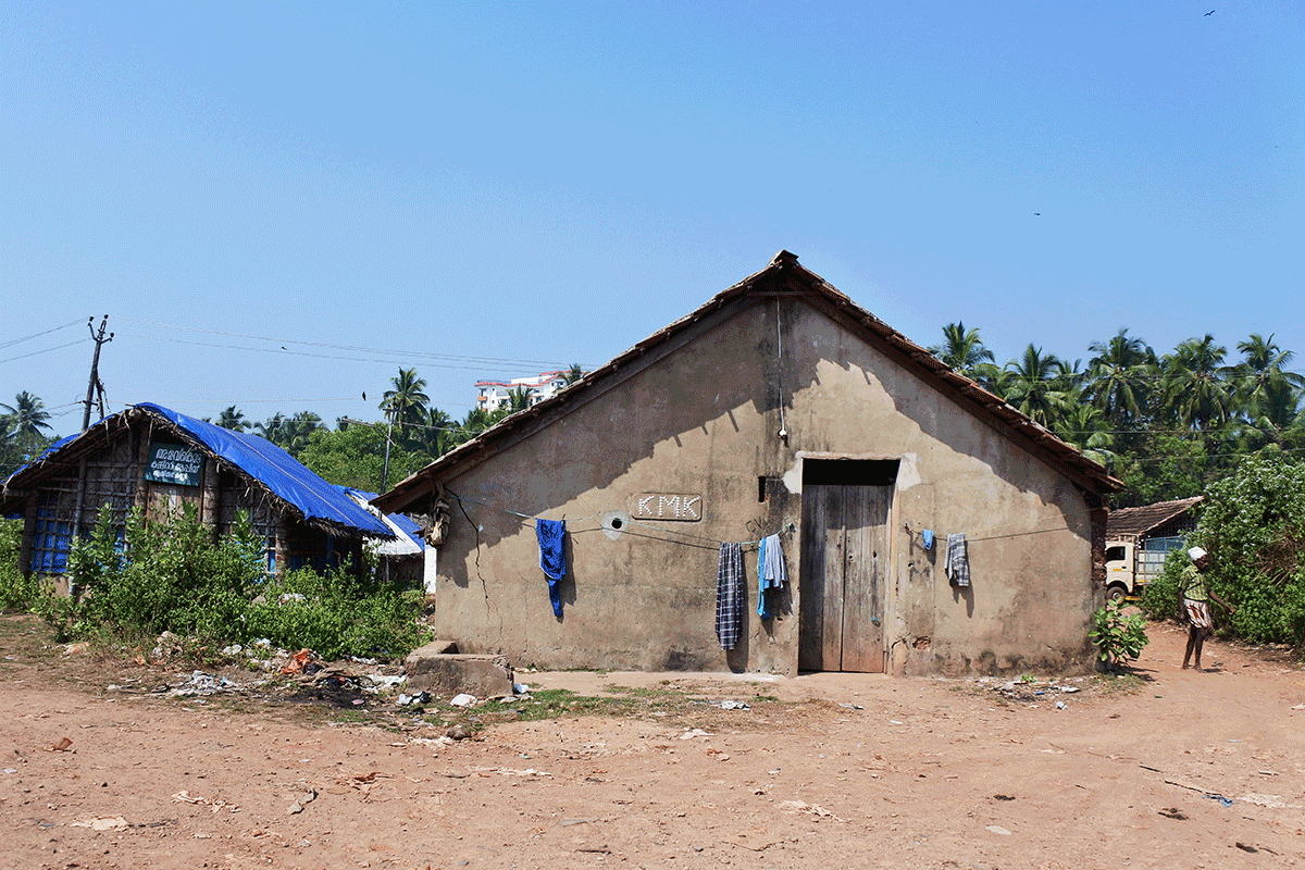 ケララ州カヌールの漁村の建物