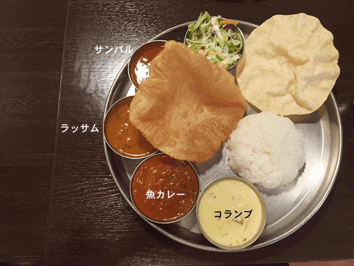 ダクシン東日本橋店のミールス、南インド定食、カレーの説明付き