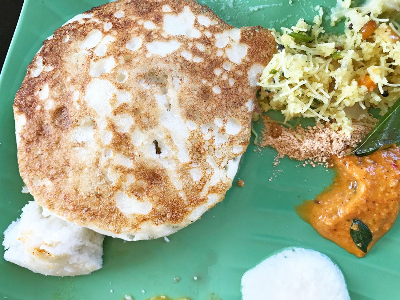 Sun Valley Homestayの南インド朝食