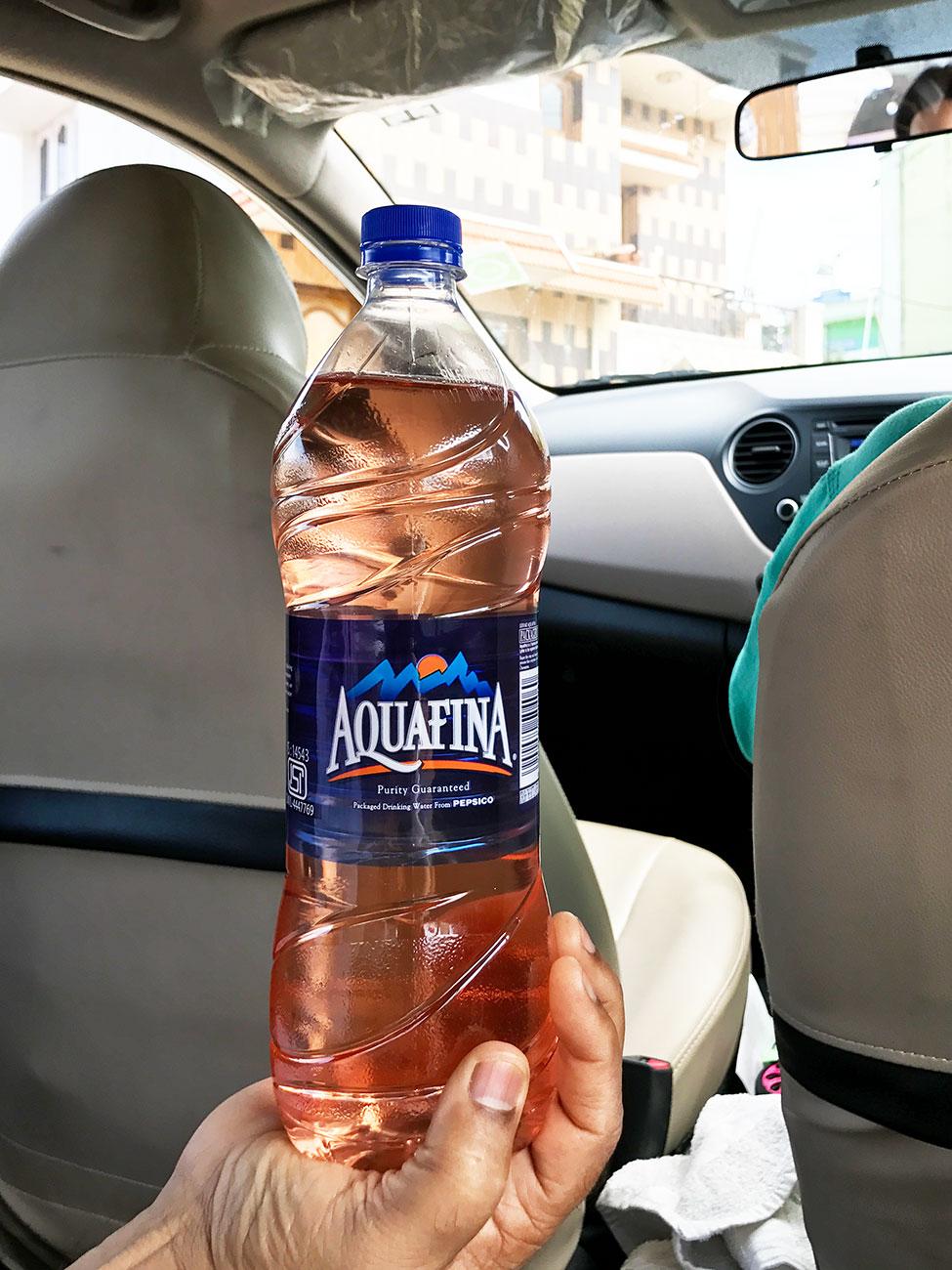 ドライブ用にペットボトルに詰めてくれたピンクウォーター