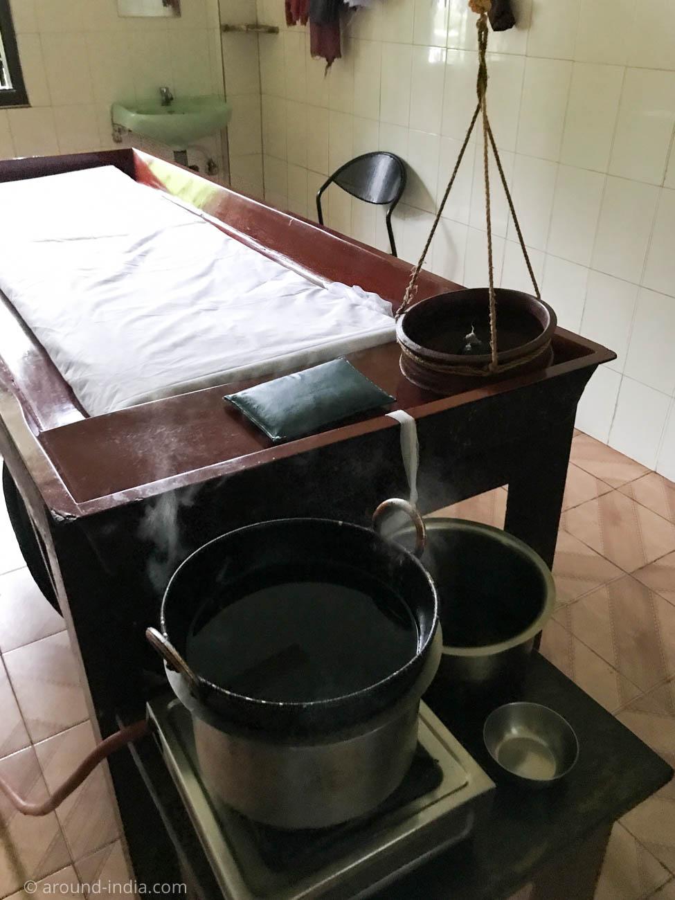 シロダーラの準備が整ったベッド