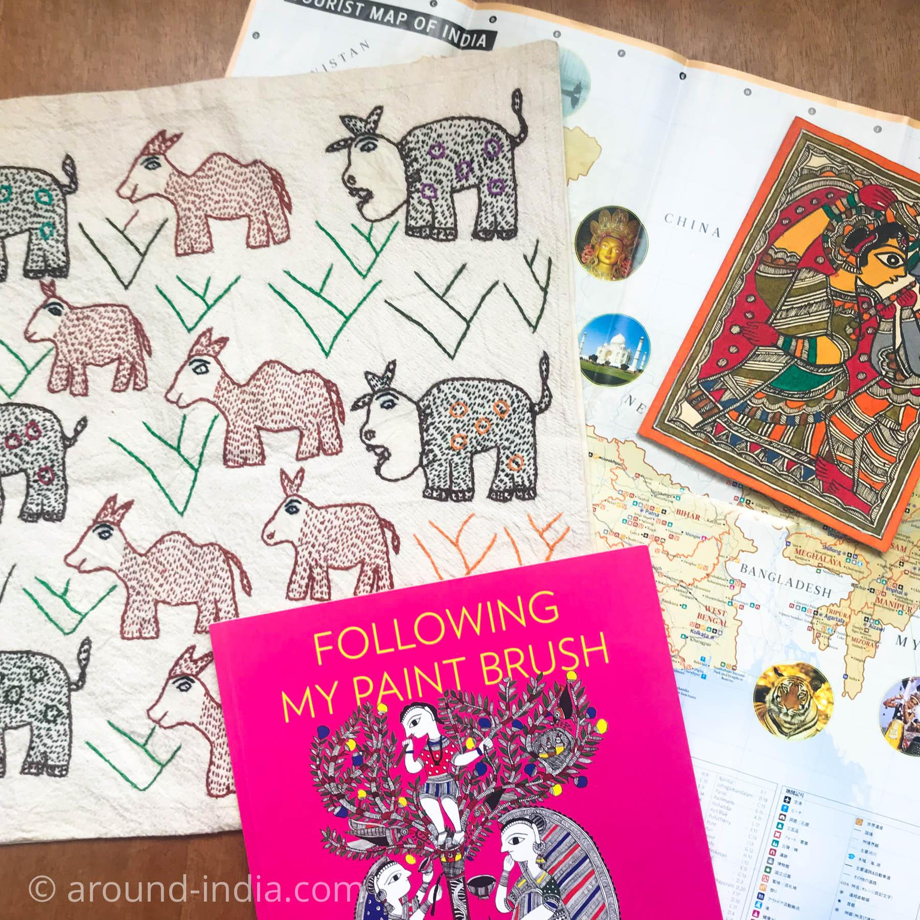 キチュリーの会 ビハールの地図とミティラー画、刺繍