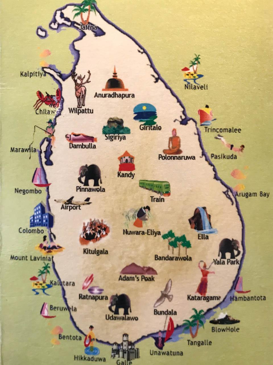 神奈川 さがみ野 スリランカ料理 ロイヤルグリーンのスリランカ地図