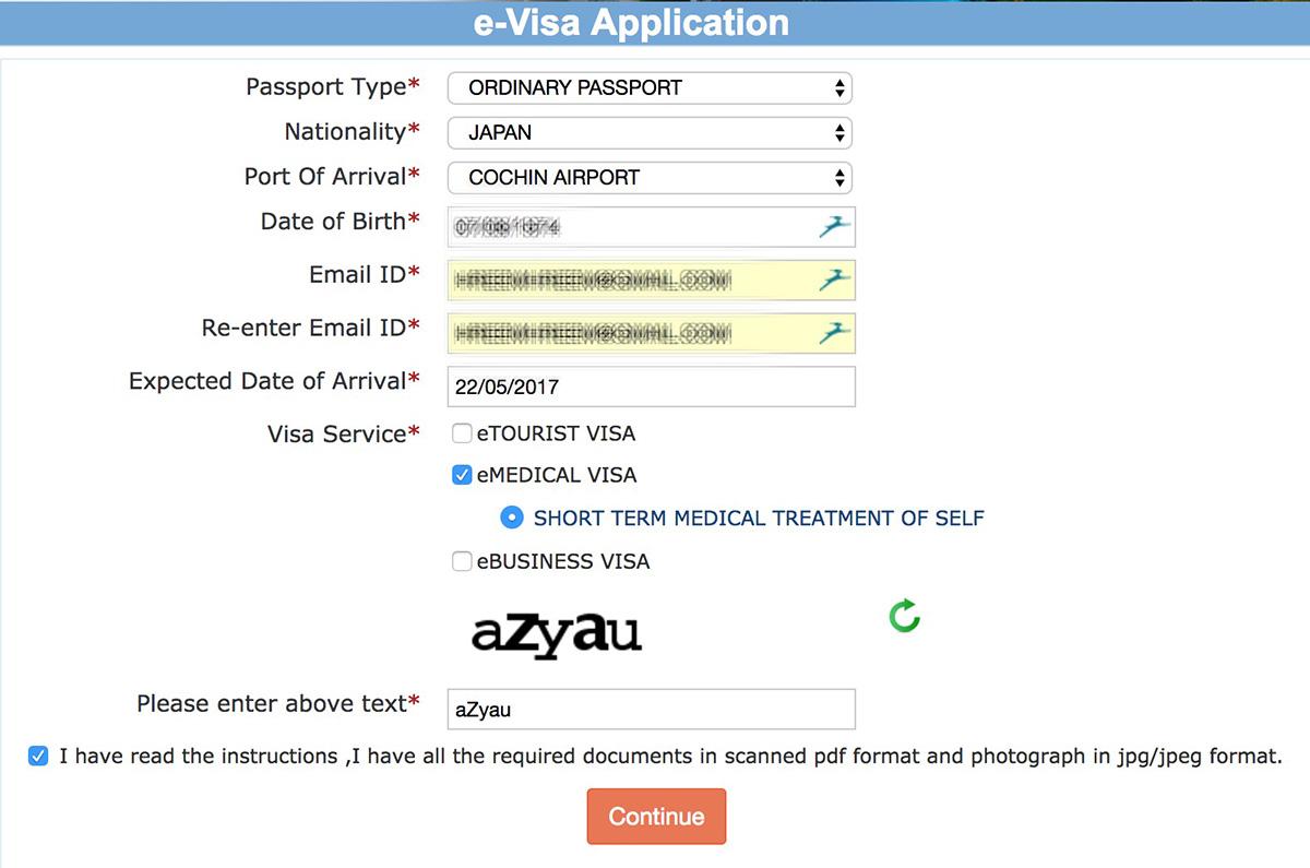 インドビザ申請画面、種類の選択