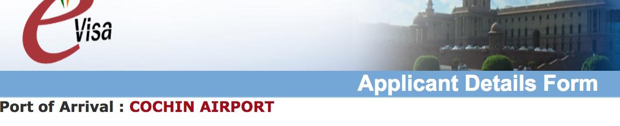 インドビザ申請画面、入国空港