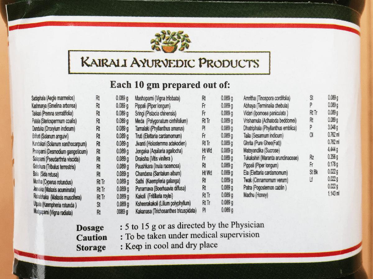 Kairali社のチャヴァナプラーシュの原料