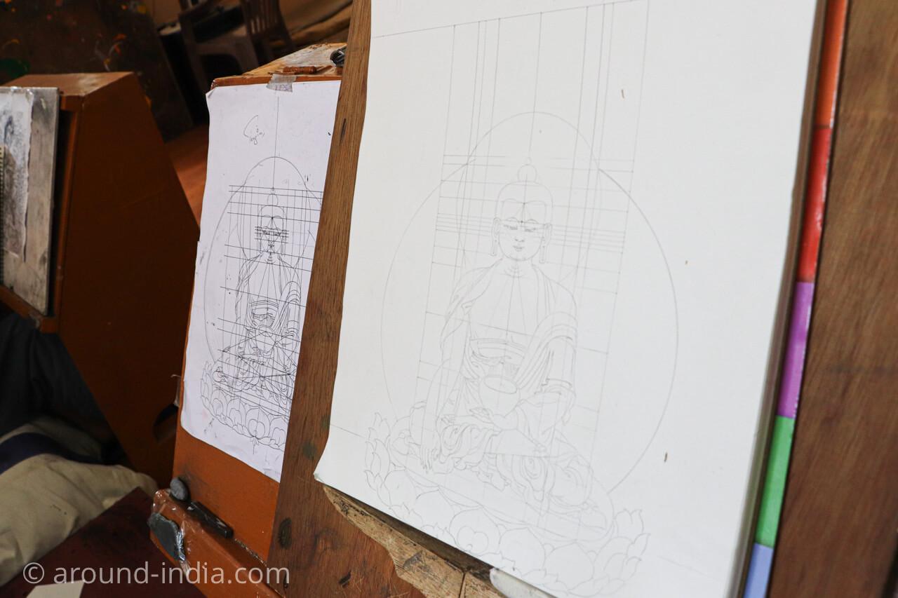 ダラムサラのノルブリンカチベット芸術 タンカの下絵