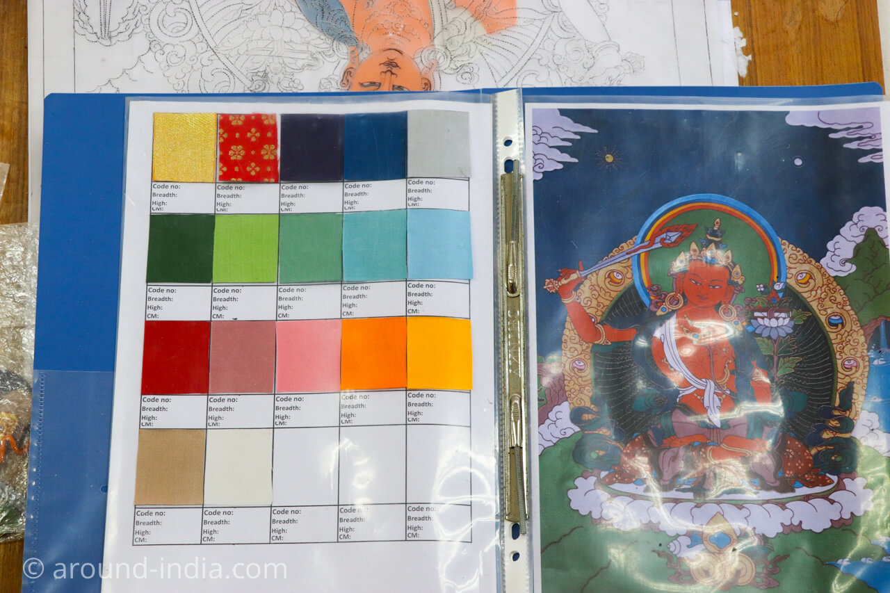 ダラムサラのノルブリンカチベット芸術 ダラムサラのノルブリンカチベット芸術 布のタンカ 色見本帳