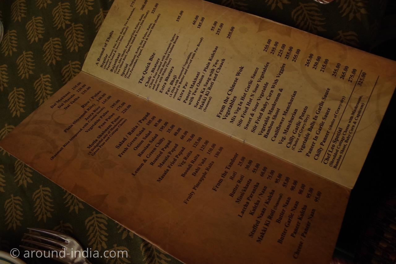 ジャイプールのレストランFour Seasonsのメニュー