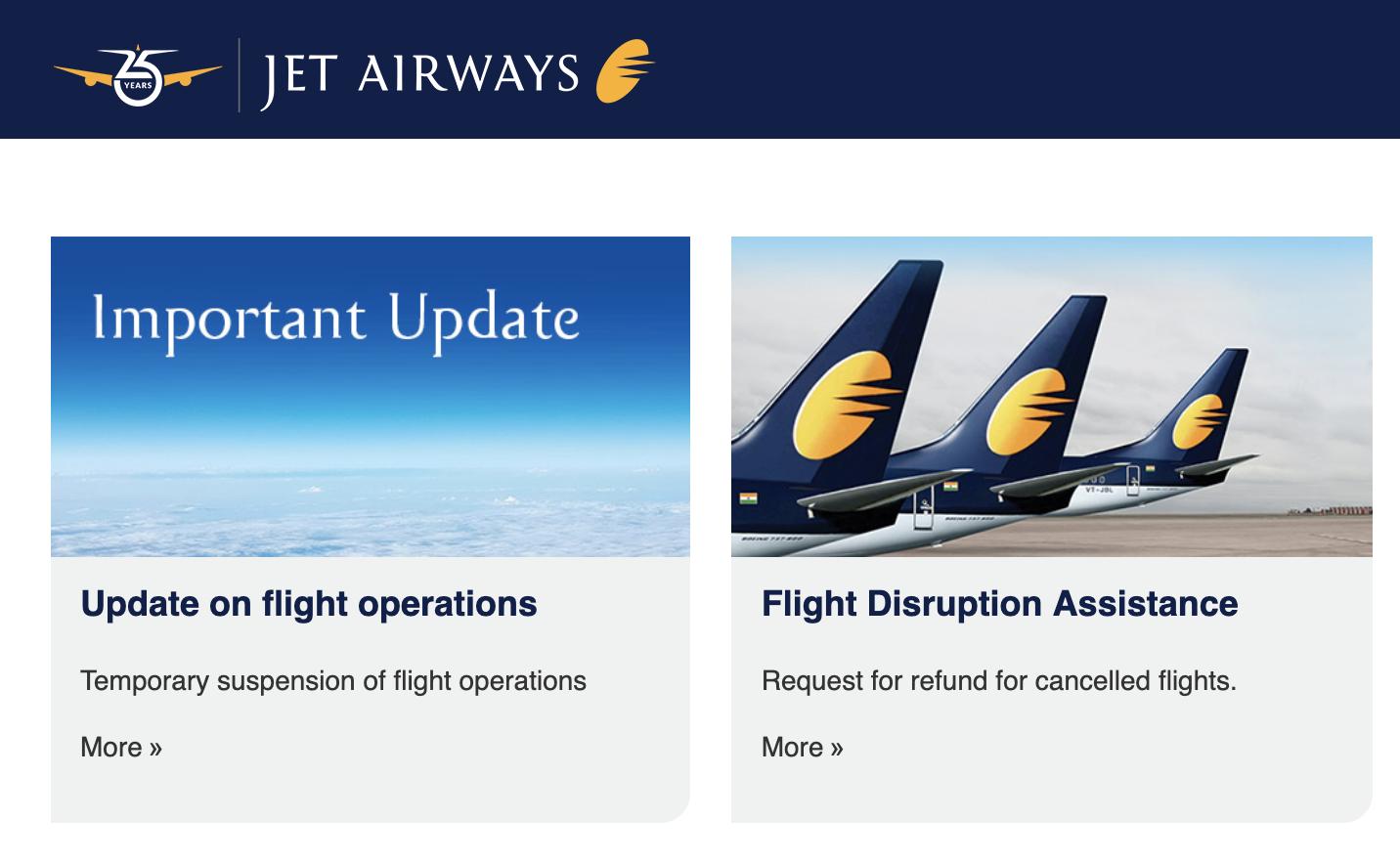 4月17日をもって、Jet Airwaysが全便運航中止になりました!