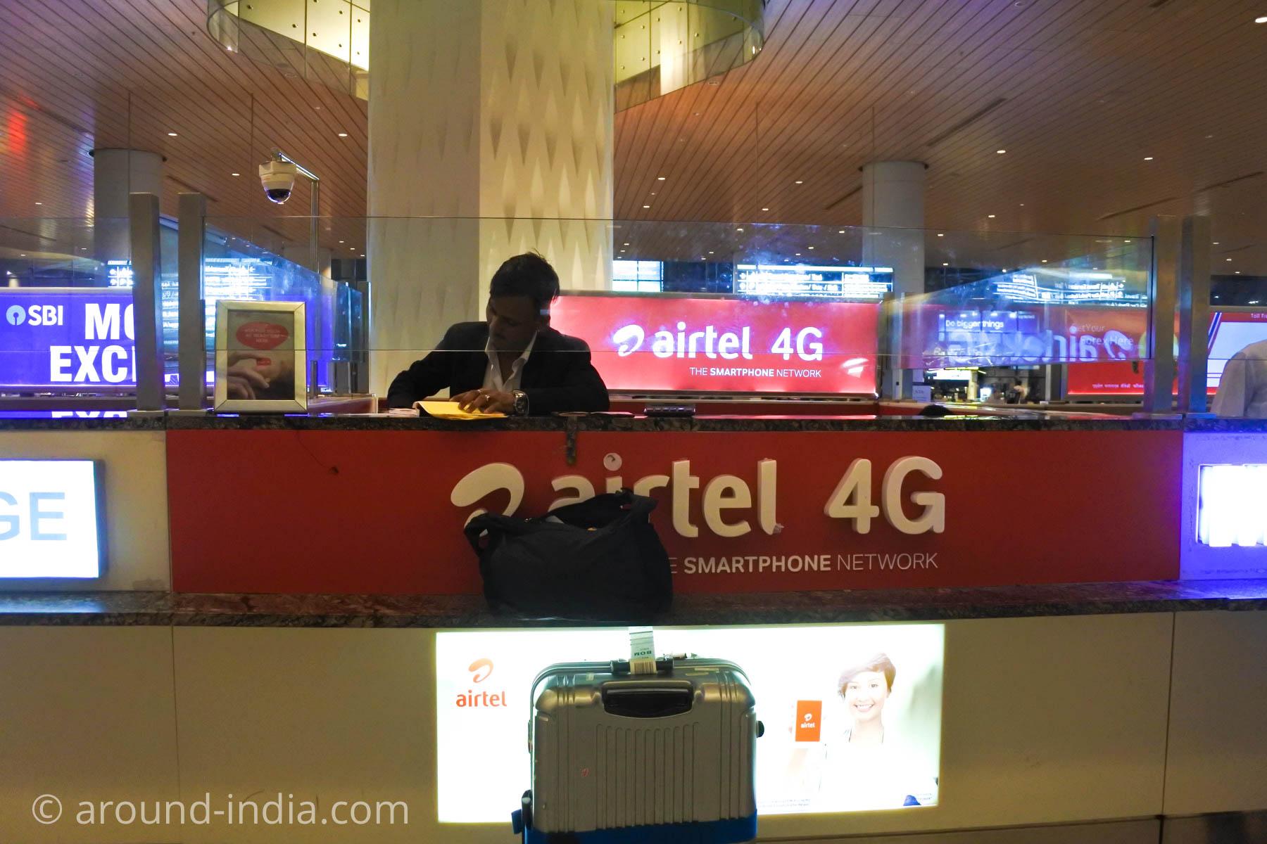 ムンバイ空港の携帯Airtelカウンター