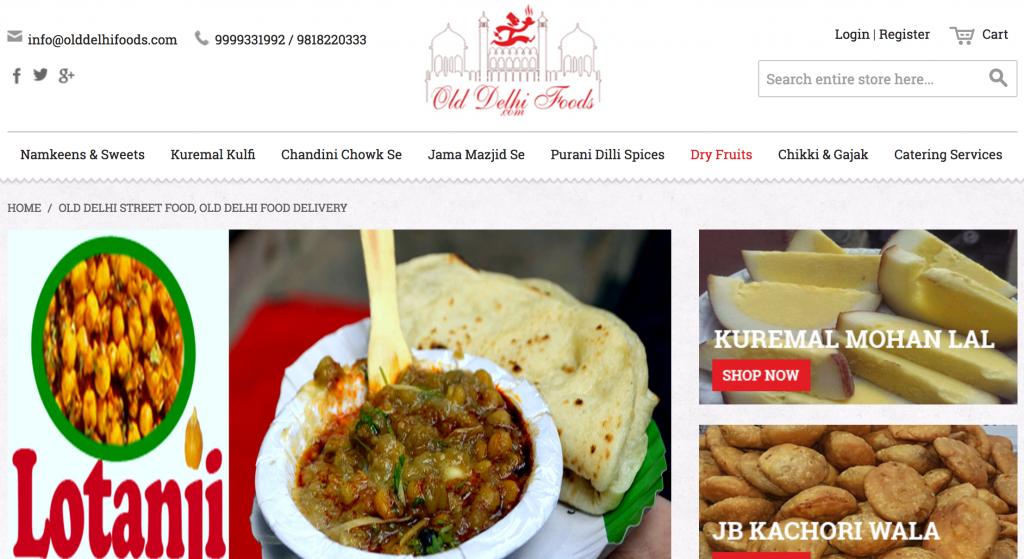 olddelhifoods.comのサイトイメージ