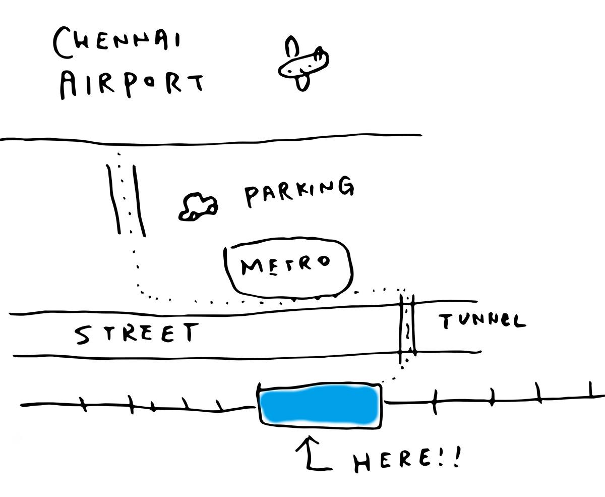 チェンナイ空港からTirusulam駅への道