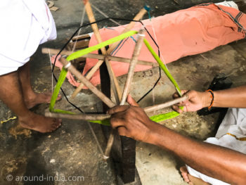 ケララ州パラッカドの織物工房 糸工程